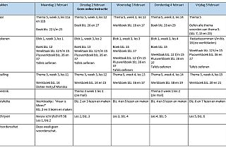 Weekrooster maandag 1 tot en met vrijdag 5 januari